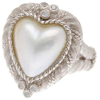 Judith Ripka Sterling Silver Heart Mabe Pearl Ring