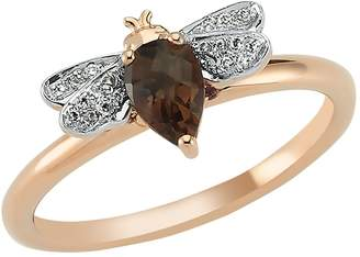 Bee Goddess Rose Gold Diamond and Smoky Topaz Queen Bee Ring