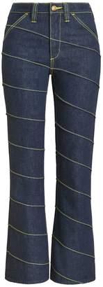 Tory Burch Asymmetric Stitch Denim Pant