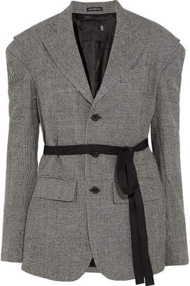 R13 - Oversized Grosgrain-trimmed Houndstooth Wool Blazer - Gray