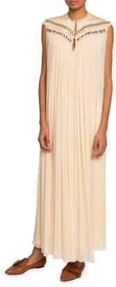 Chloé Embroidered-Yoke Chiffon Dress