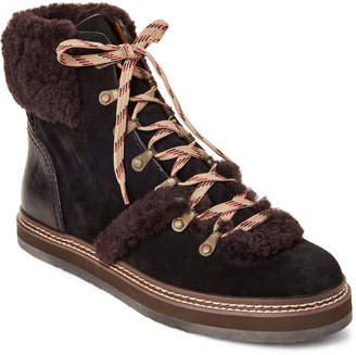 See by Chloe Black Real Fur Lace-Up Suede Boots