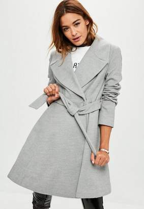 Missguided Gray Belted Short Wool Skater Coat