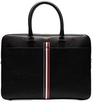 90a58b8afd73 Thom Browne black tricolour logo stripe leather laptop bag
