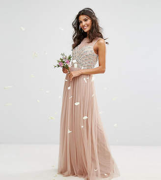 Maya Embellished Sweetheart Maxi Dress With Tulle Skirt