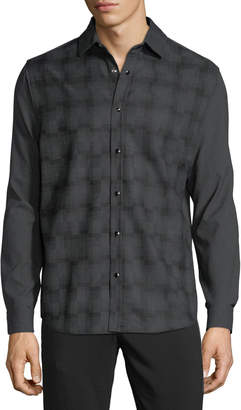 Karl Lagerfeld Paris Men's Enamel-Snap Plaid Flannel Shirt