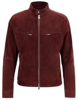 BOSS Regular-fit biker jacket in suede with zip details