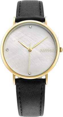 RumbaTime Lafayette Black Leather Gold Women's Watch