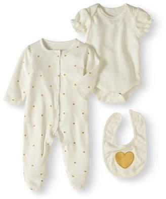 Bon Bebe Newborn Girl Bodysuit, Sleep 'N Play & Bib, 3pc Set