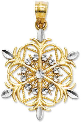 Macy's 14k Gold and Sterling Silver Charm, Snowflake Charm