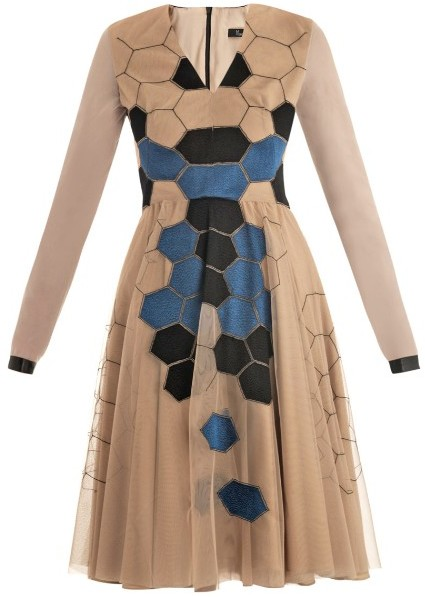Marios Schwab Honeycomb embroidered nude dress