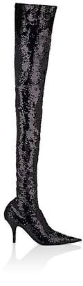 Balenciaga Women's Knife Sequined Over-The-Knee Boots - Black