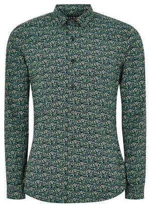 Topman Mens Grey Floral Print Muscle Long Sleeve Shirt