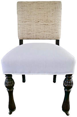 One Kings Lane Vintage Antique Side Chair with Raw Silk & Linen