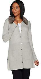 Isaac Mizrahi Live! 2-Ply Cashmere Cardigan w/Faux Fur Collar