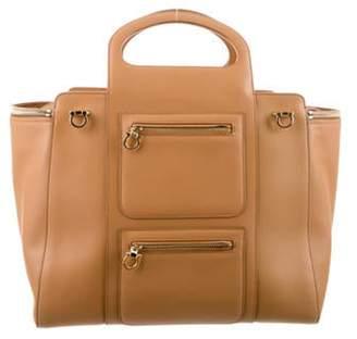 Salvatore Ferragamo Leather Tote Bag Tan Leather Tote Bag