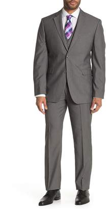 Perry Ellis Grey Herringbone Two-Button Notch Lapel Slim Fit 3-Piece Suit