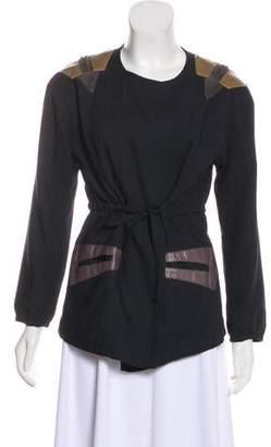 Vena Cava Leather-Trimmed Tie-Front Jacket
