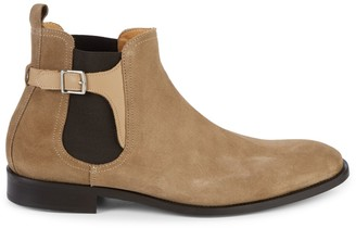 Saks Fifth Avenue Made In Italy Buckle-Strap Suede Chelsea Boots