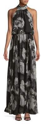 Xscape Evenings Floral Print Halterneck Gown