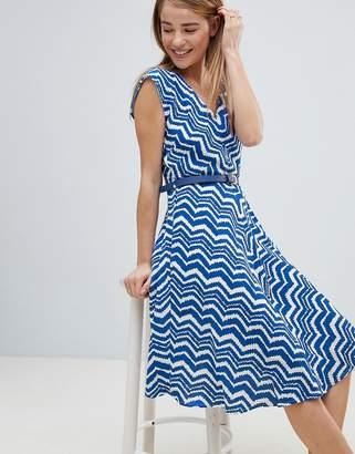 Louche Zig Zag Print Belted Skater Dress