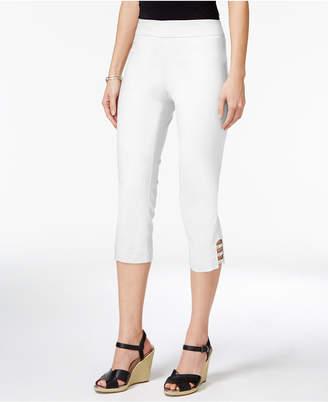 JM Collection Petite Lattice-Hem Capri Pants