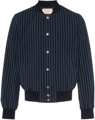 MAISON KITSUNÉ logo embroidered striped cotton blend bomber jacket