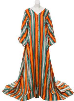 Marina Moscone Silk Caftan Full Train Dress w/ Tags Orange Marina Moscone Silk Caftan Full Train Dress w/ Tags