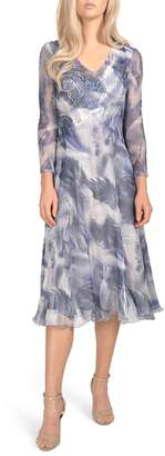 Komarov Floral Chiffon Tea Length Dress