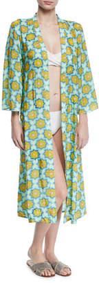 Verandah Hand-Beaded Printed Coverup Kimono
