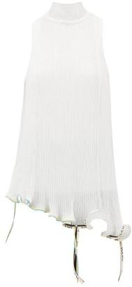 Loewe Jellyfish Asymmetric Plisse Chiffon Top - Womens - White