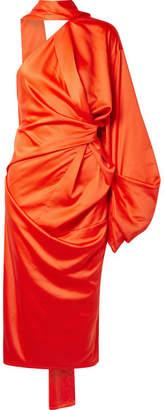 SOLACE London Sorina Draped Asymmetric Satin-crepe Dress - Bright orange