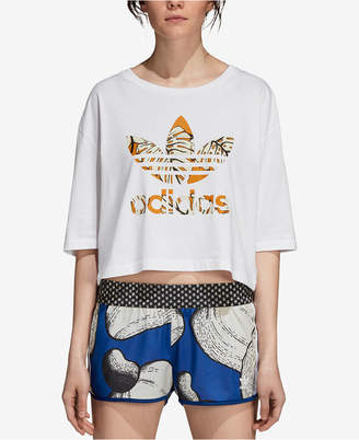 adidas Cotton Printed-Logo Cropped T-Shirt