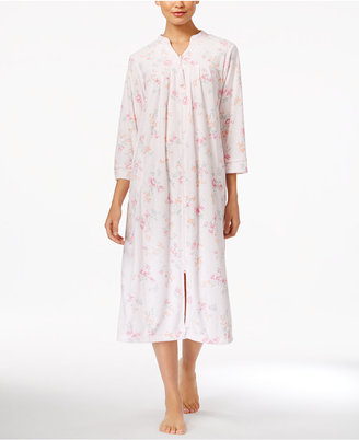 Miss Elaine Printed Stretch-Terry Zip-Front Long Robe $68 thestylecure.com