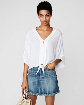 Express Short Sleeve Tie Front Shirt