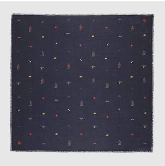 Gucci Cotton modal shawl with symbols