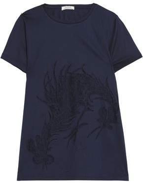 Nina Ricci Lace-Paneled Cotton-Jersey T-Shirt