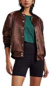 Visitor On Earth Women's Logo-Embroidered Satin Bomber Jacket - Brown