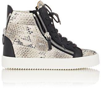 Giuseppe Zanotti Women's Snakeskin-Stamped Double-Zip Sneakers-WHITE $750 thestylecure.com