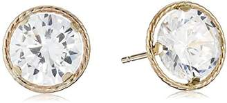 14k Yellow Gold Martini Set Cubic Zirconia Stud Earrings