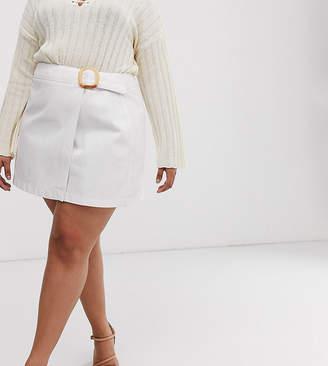 Asos DESIGN Curve denim mini wrap skirt with belt
