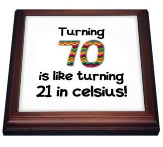3dRose Turning 70 is like turning 21 in celsius - humorous 70th birthday gift - Trivet with Ceramic Tile, 8 by 8-inch
