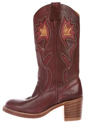 Frye Leather Embroidered Boots