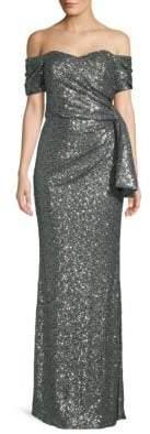 Badgley Mischka Off-Shoulder Sequined Side-Bow Gown