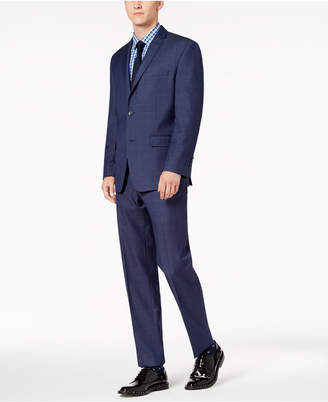 Andrew Marc Men's Modern-Fit Stretch Blue Windowpane Suit