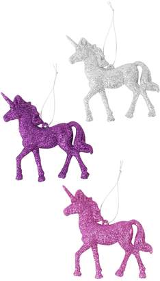Next Paperchase 3 Glitter Unicorn Christmas Decorations