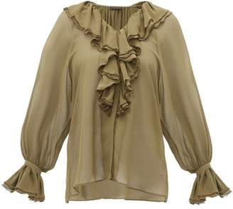 Etro Devon Ruffled Silk Chiffon Blouse - Womens - Khaki