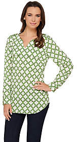 "C. Wonder Trellis Print Long Sleeve ""Caitlin""Blouse"