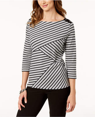 Karen Scott Petite Striped Boat-Neck Top, Created for Macy's