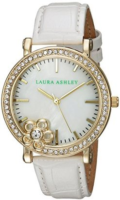 Laura Ashley Women's Quartz Metal and Silicone Casual Watch, Color:White (Model: LA31013YG) $19.50 thestylecure.com